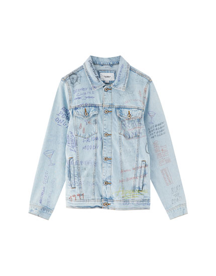 Denim jacket with hand-drawn designs