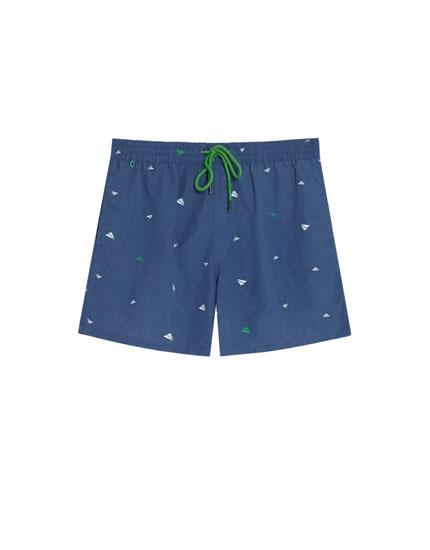 Printed swimming trunks with drawstrings