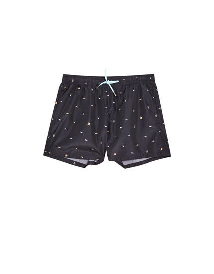 Black Bermuda swimming trunks with all-over print