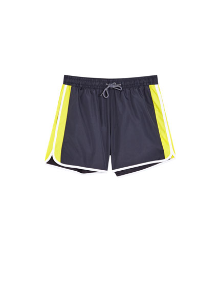 Bermuda swimming trunks with side panels