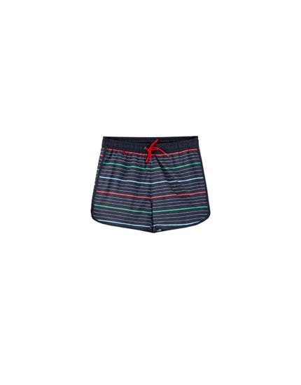 Stripe print swimming trunks