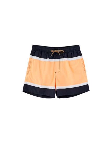 Orange panel swimming trunks