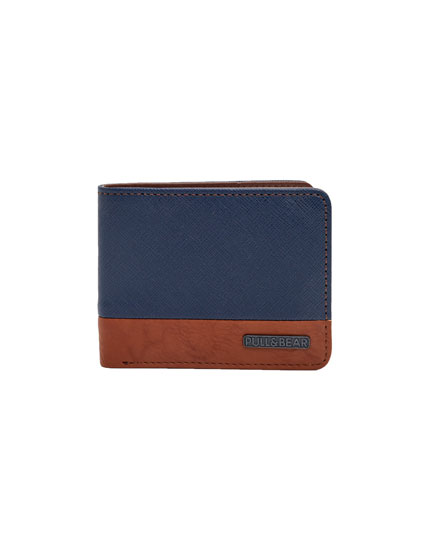 Two-tone faux leather wallet
