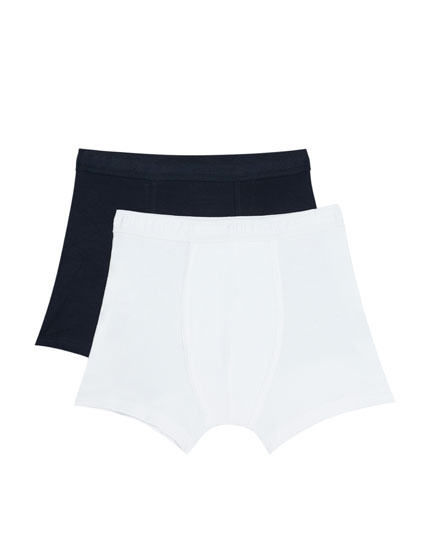 Pack of 2 white and navy blue boxers