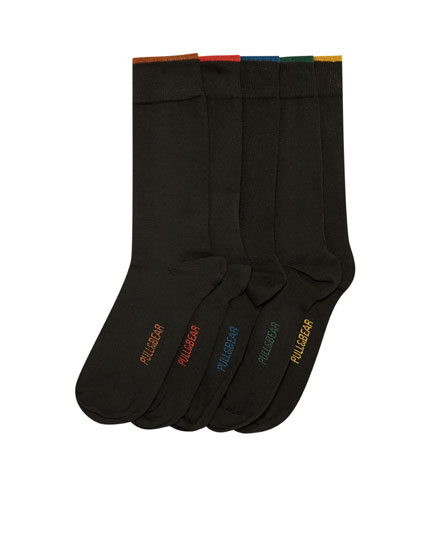 5-pack of long contrasting socks