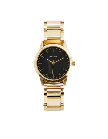 Armbanduhr aus goldfarbenem Metall