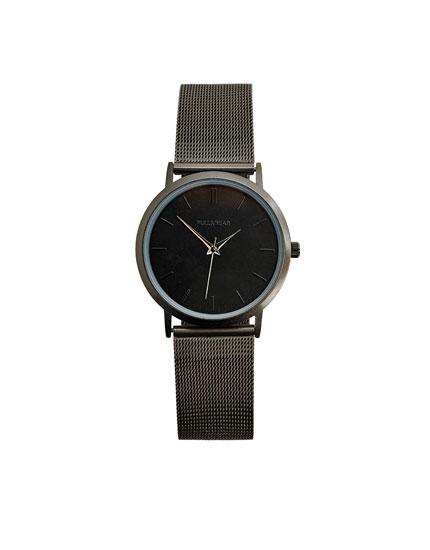 Schwarze Uhr mit minimalistischem Design