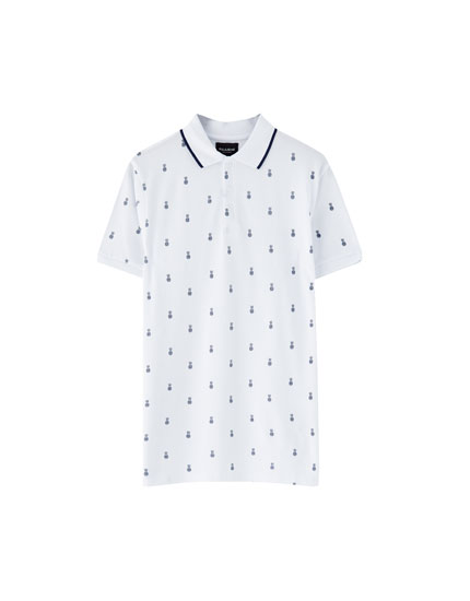 Pikee-Poloshirt mit All-Over Print
