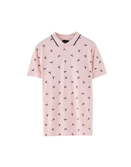 All-over print piqué polo shirt