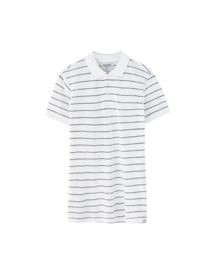 Nautical stripe piqué polo shirt