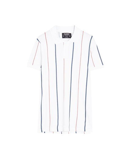 Piqué polo shirt with vertical stripes