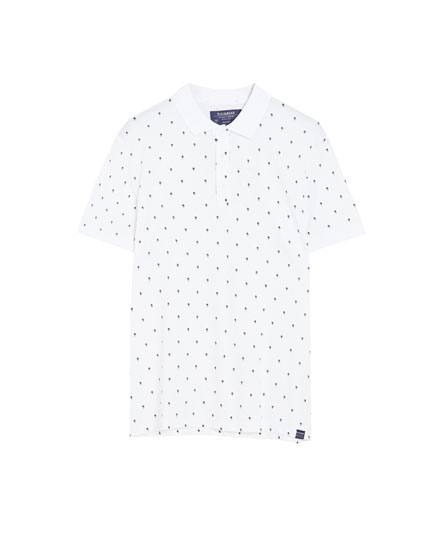 Piqué polo shirt with palm tree micro print