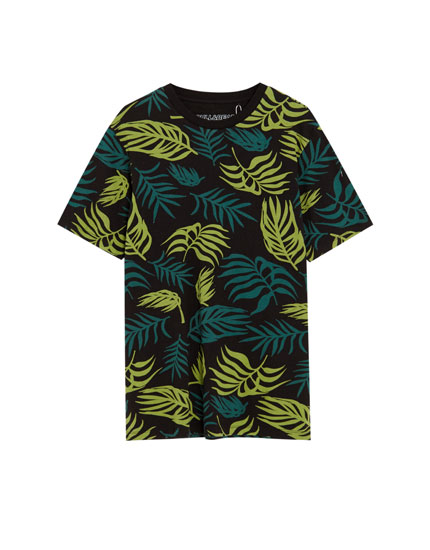 Cotton tropical leaves T-shirt