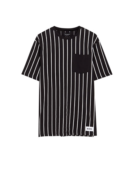 Vertical stripe T-shirt with plain pocket