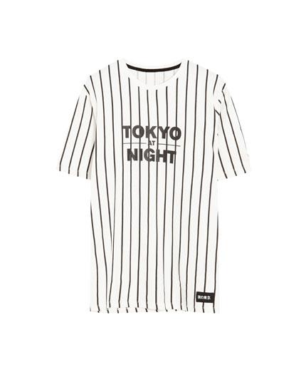 Vertical stripe 'Tokyo Night' T-shirt