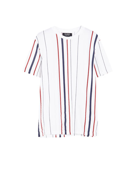 Piqué T-shirt with vertical stripes