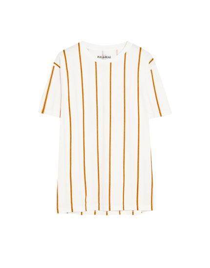 White piqué T-shirt with vertical stripes