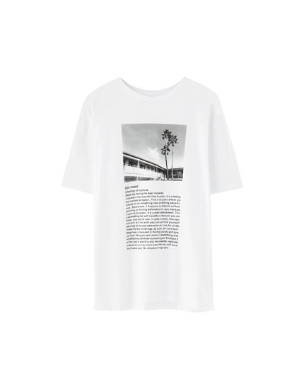 Photo print and slogan T-shirt