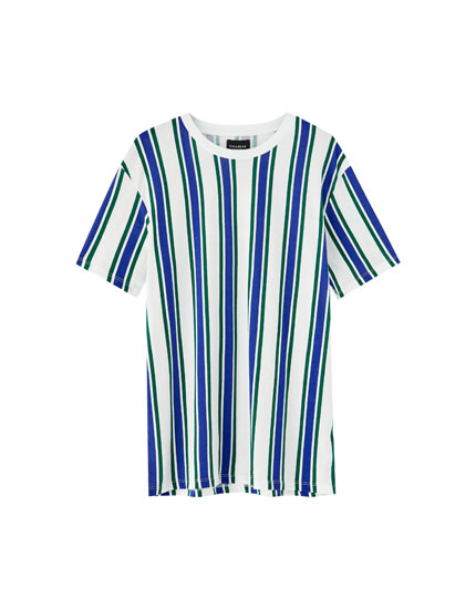 Vertical stripe T-shirt with contrasting neckline