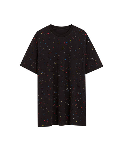Short sleeve T-shirt with multicoloured paint splatter