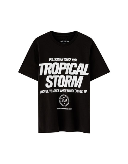 "Shirt in Schwarz-Weiß ""Tropical Storm"""