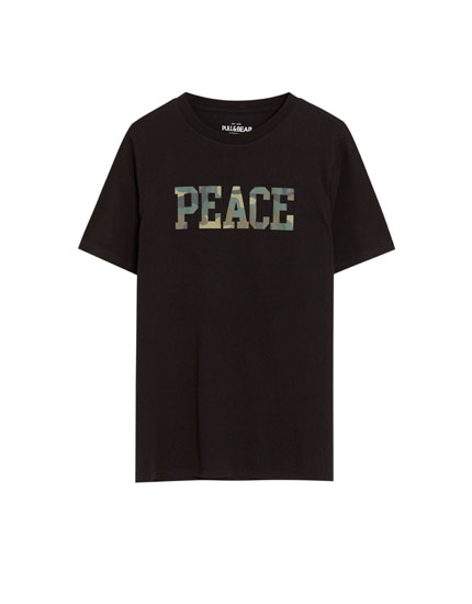 "Shirt ""Peace"" mit Camouflageprint"