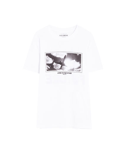 Photographic aeroplane print T-shirt