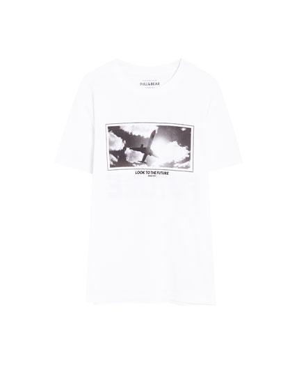 T-shirt met fotoprint vliegtuig