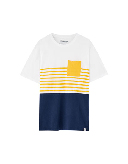 Panelled T-shirt with contrasting stripes and pocket