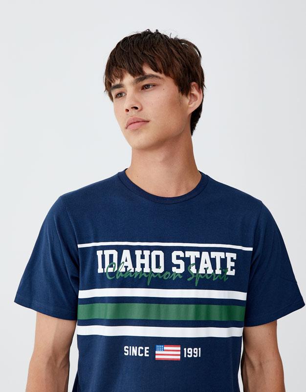 "Tricou Cu Dungi ""Idaho State"" by Pull & Bear"