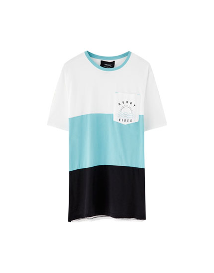 Panel T-shirt with printed pocket