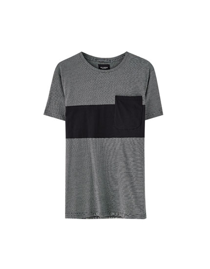 Panel T-shirt with pocket