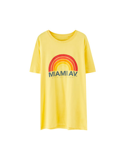 Cotton 'Miami Av.' T-shirt
