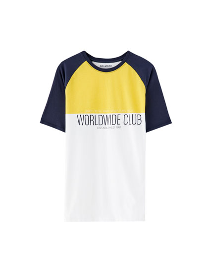 Colour block raglan sleeve T-shirt