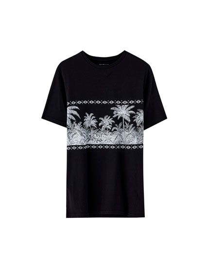 Palm tree panel T-shirt