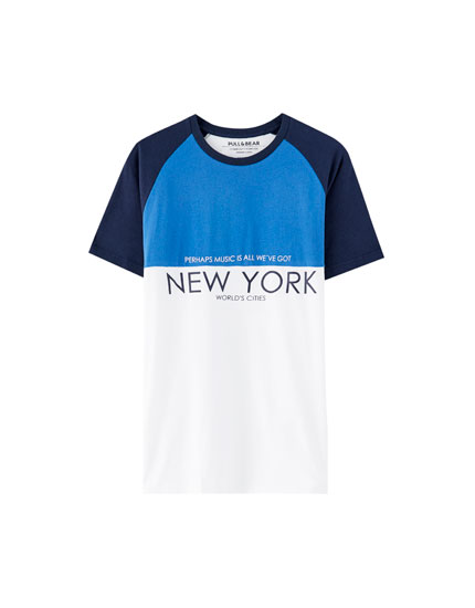 "Tricou cu mânecă raglan, model color block ""New York"""