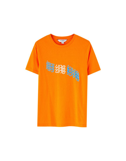 Diagonal slogan T-shirt