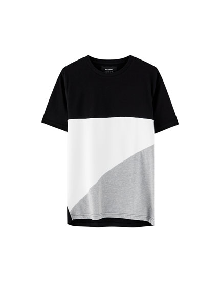 Tricou cu model color block geometric
