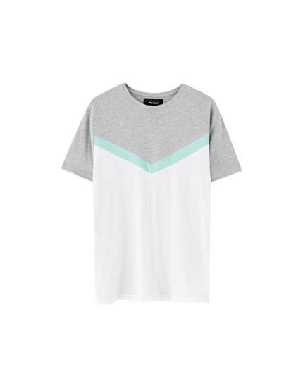 Tricou cu model color block diagonal