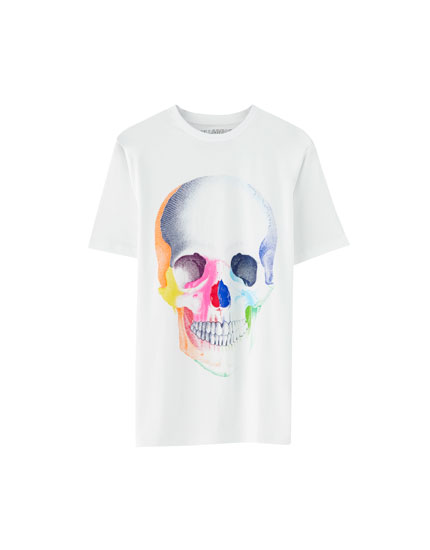 Multicoloured-effect skull T-shirt