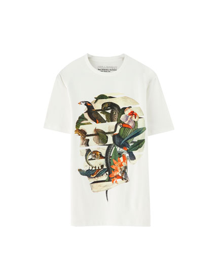 Toucan and snake skull T-shirt