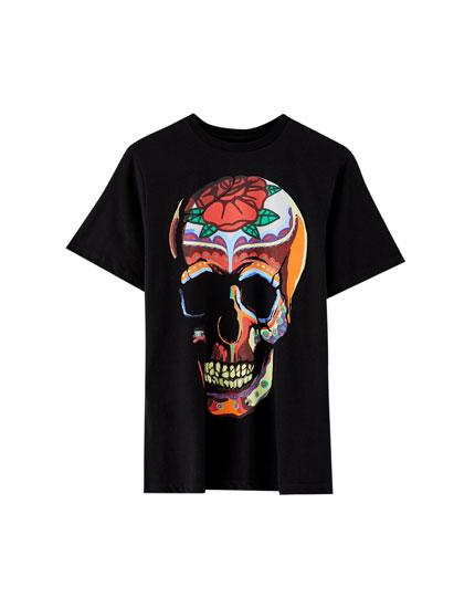 T-shirt met doodskop met Mexico-print
