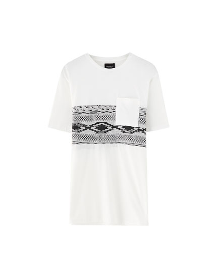 Panelled T-shirt with patterned chest