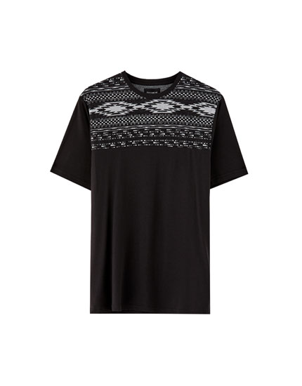 Panelled T-shirt with patterned yoke