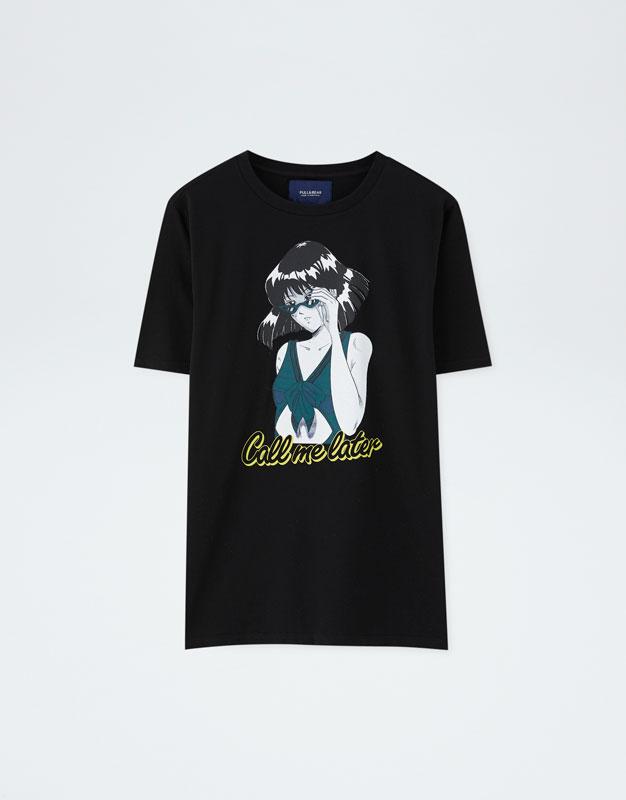 Κοντομάνικη μπλούζα με κορίτσι - PULL BEAR a02401bcbcb