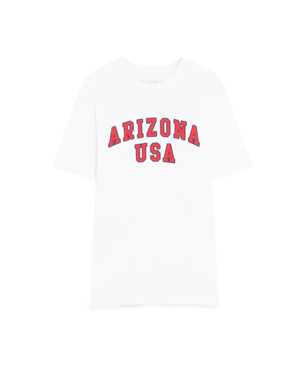 Short sleeve college slogan T-shirt