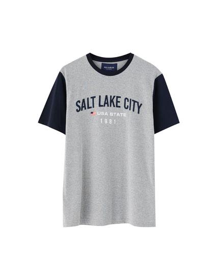 College-Shirt mit farblich abgesetztem Ärmel