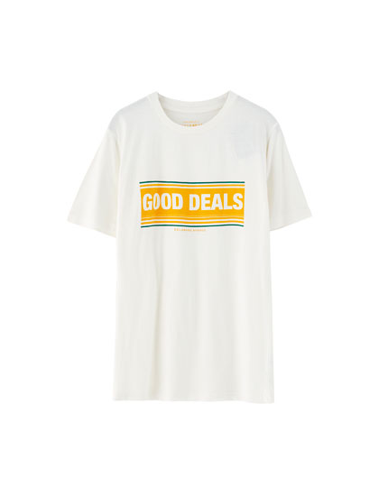 Camiseta con texto estampado 'Good deals'