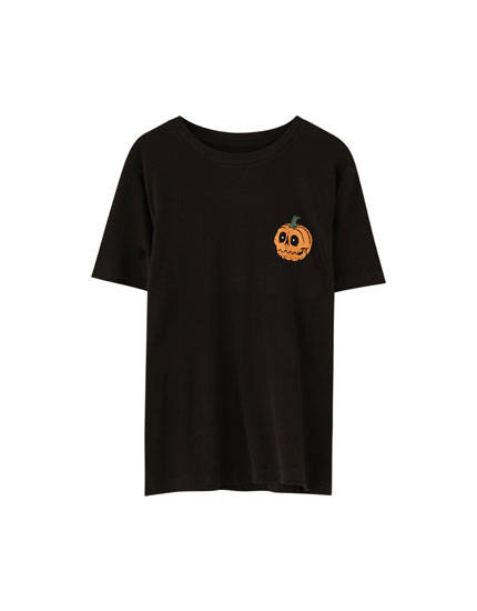 Halloween-Shirt mit Kürbisprint