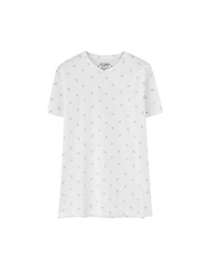 White all-over cactus print T-shirt